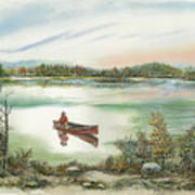 Canoeing On The Lake Poster