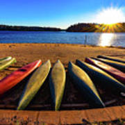 Canoes At Sunset Poster