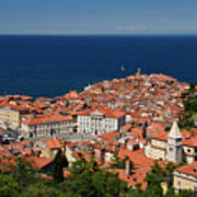 Cape Madonna At Point Of Piran Slovenia On Blue Adriatic Sea Wit Poster