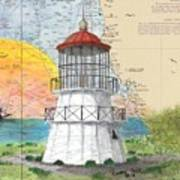 Cape Mendocino Lighthouse Ca Nautical Chart Map Poster