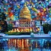 Capital At Night - Washington Poster