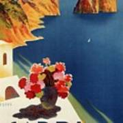 Capri Island, Bay Of Naples, Italy - Retro Travel Poster - Vintage Poster Poster