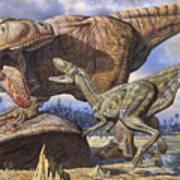 Carcharodontosaurus Guards Its Kill Poster by Mark Hallett