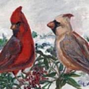 Cardinal Berries Poster