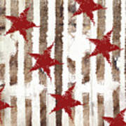 Cardinal Holiday Burlap Star Pattern Poster
