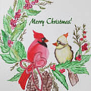 Cardinals Painted By Debbie Woodrow Poster