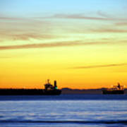 Cargo Ships At Sunset Poster