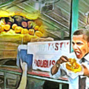 Caribbean Scenes - Obama Eats Doubles In Trinidad Poster