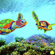 Caribbean Sea Turtle And Reef Fish Poster