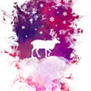 Caribou Winter Art Poster