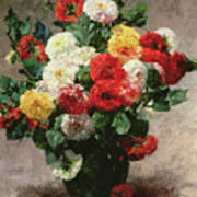 Carnations In A Vase Poster