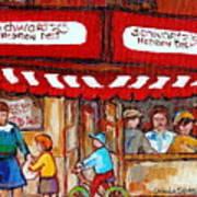 Carole Spandau Paints Montreal Memories - Montreal Landmarks - Schwartzs Hebrew Deli St. Laurent  Poster