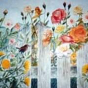Carolina Wren and Roses Poster
