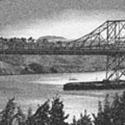 Carquinez Bridge Pointilized B And W Poster