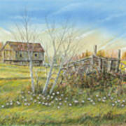 Cart And Barn On A Spring Day Poster
