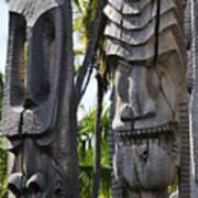 Carved Statues At Puuhonua O Honaunau National Historical Park Poster