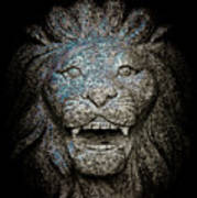 Carved Stone Lion's Head Poster