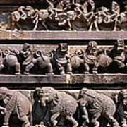 Carving On The Wall Of A Temple Poster