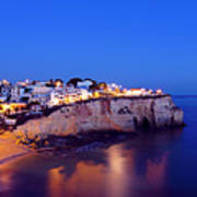 Carvoeiro In The Algarve Portugal At Night Poster
