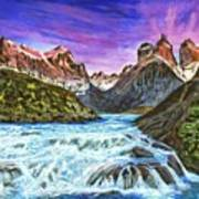 Cascades In Patagonia Painting Poster