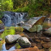 Cascading Waterfall At Sweet Creek Falls Trail Poster