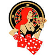 Casino Logo With Red Hair Girl, Dices, Roulette Wheel And Cards, Poster