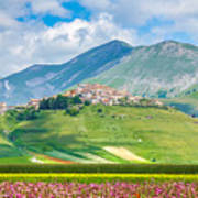 Castelluccio Di Norcia With Beautiful Summer Fields Poster