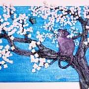Cat Among The Cherry Blossoms Poster by Sarah Swift