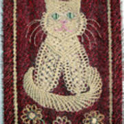 Cat And Flowers. Macrame Art Poster