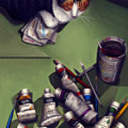 Cat And Paint Tubes Poster
