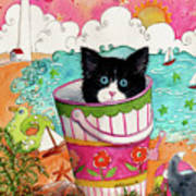 Cat In A Pail Poster