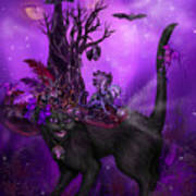Cat In Goth Witch Hat Poster