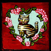 Cat In Heart Wreath 2 Poster