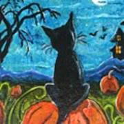 Cat In Pumpkin Patch Poster by Paintings by Gretzky