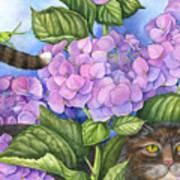 Cat In The Garden Poster