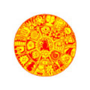 Cat Mandala Yellow And Red Poster