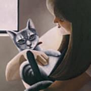 Cat Nestled Poster by Carol Wilson