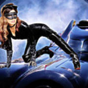 Cat On Bat Mobile Poster