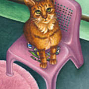 Cat Sitting On A Painted Chair Poster
