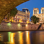 Cathedral Notre Dame And River Seine - Paris Poster