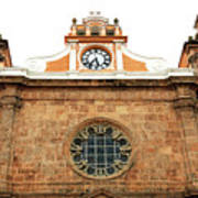 Cathedral Of Cartagena Clock Poster