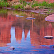 Cathedral Rock Reflection Pastel Poster