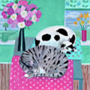 Cats In Spring Poster