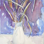 Cattails On White Poster by Dorothy Herron
