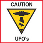 Caution Ufos Poster by Pixel Chimp
