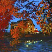 Cedarburg Mill At Night Poster