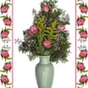 Celadon Vase With Goldenrod Poster