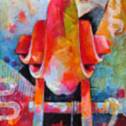 Cello Head In Blue And Red Poster