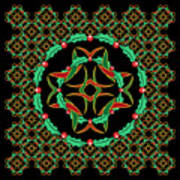 Celtic Christmas Holly Wreath Poster