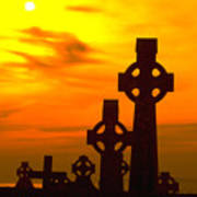 Celtic Crosses In Graveyard Poster